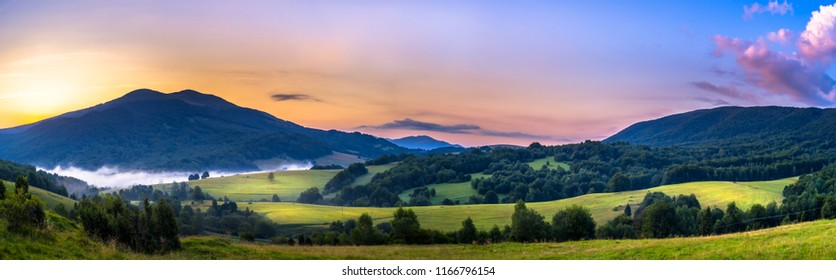 Sunrise over the Mountain, Polonina Carynska in Bieszczady Mountains