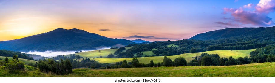 Sunrise over the Mountain, Polonina Carynska in Bieszczady Mountains