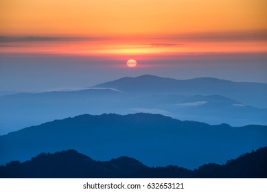 Sunrise over the mountain viewed from the Singalila National Park, Sandakphu, India