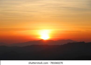 Sunrise over the Mountains at Doi Maesalong Chaing Rai,Thailand.Morning.