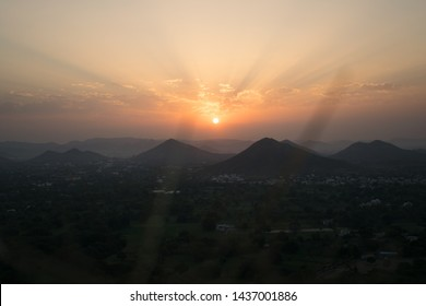 Sunrise over the mountains in udaipur, Rajasthan India