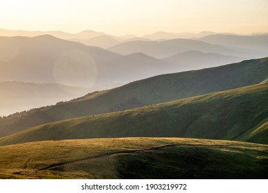 sunrise over the mountians. Carpathian. Ukraine