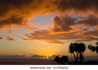 Sunrise over Mounts Bay, Cornwall, England, UK.