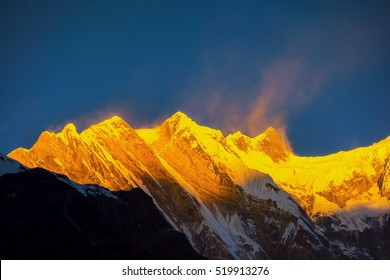 Sunrise over Mt. Annapurna from Annapurna base camp ,Nepal.