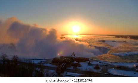 Sunrise over Niagara Falls in Winter