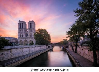 Sunrise over Notre Dame Cathedral, Paris, France