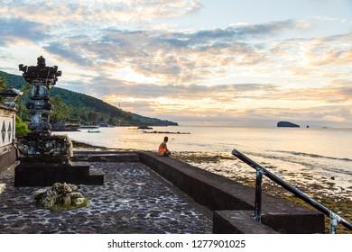Sunrise over the ocean, Candidasa, Bali, Indonesia