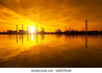 Sunrise over oil refinery industry plant.  View of gas processing factory. Oil and gas industry petrochemical plant at Bangkok ,Thailand