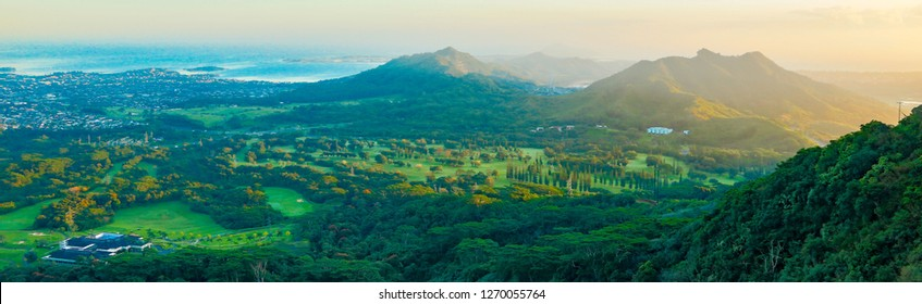 Sunrise over the Pali Golf course and Kaneohe Bay, Oahu, Hawaii.