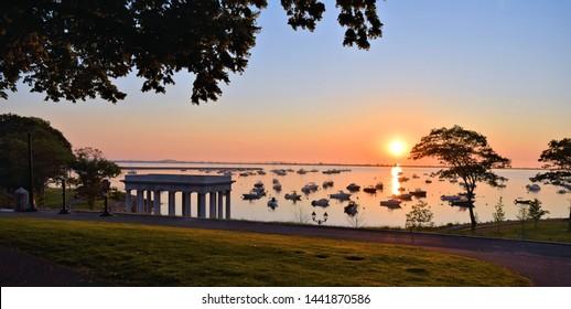 Sunrise over Plymouth Harbor Massachusetts