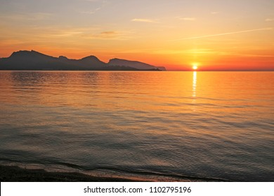 Sunrise over Pollensa Bay, Port of Pollensa, Mallorca, Balearic Islands, Spain