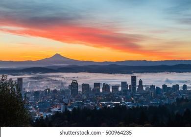 Sunrise over Portland, Oregon and Mt. Hood