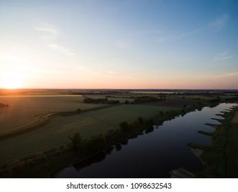Sunrise over the river Elbe