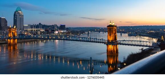 Sunrise Over the Roebling Suspension Bridge Connecting Cincinnati, Ohio to Covington in Northern Kentucky