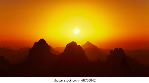 Sunrise over Sahara Desert, Hoggar mountains, Algeria