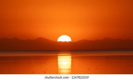 Sunrise over  salt lake at Danakil depression, Ethiopia
