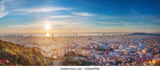 sunrise over the sea in barcelona from the Bunker del Carmel hills