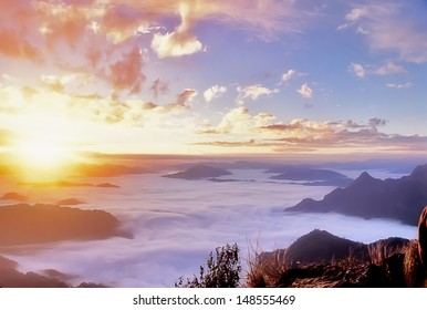 sunrise over sea of fog at phu chi fa
