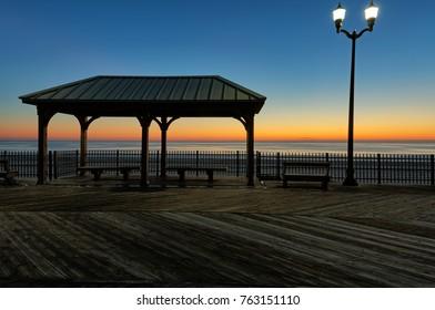 Sunrise over Seaside Heights Boardwalk in NJ