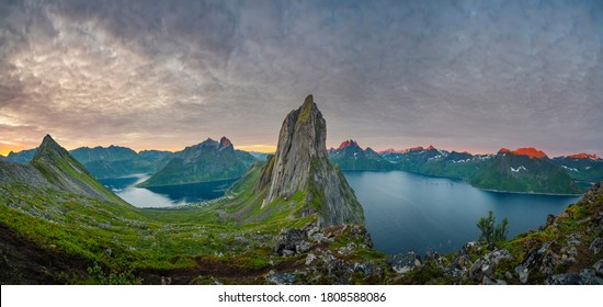 Sunrise over Senja island in Northern Norway , mount Segla in the middle of frame.