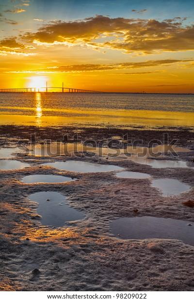 Sunrise over the sky way bridge in Tampa, Florida