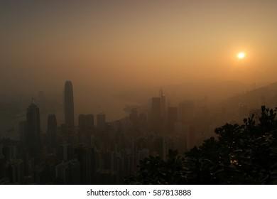 Sunrise over the skyline of Hong Kong February 2017
