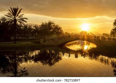 Sunrise over a small bridge with a bird