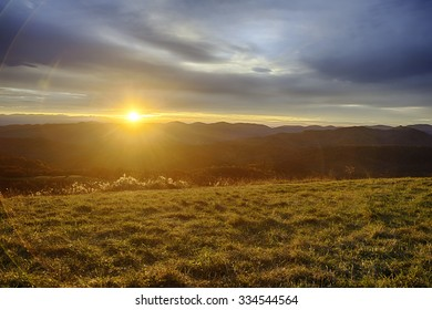 Sunrise over the Smokey Mountains in Fall.