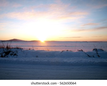 Sunrise over the snowfield