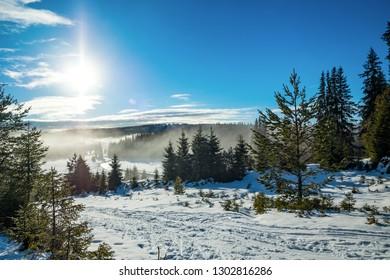 Sunrise over snowy landscape and romantic stream