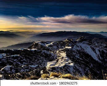 Sunrise over the snowy moutains