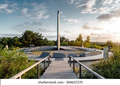 Sunrise over sundial. Parnidis dune, Curonian Spit in Lithuania. UNESCO World Heritage Site