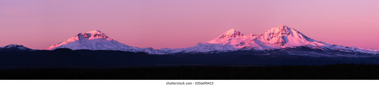 Sunrise over the three Sisters  mountains in central Oregon near Bend.