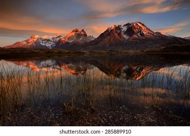 Sunrise over Torres del Paine National Park, Chile