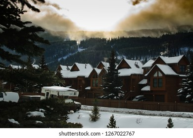 Sunrise over Townhomes on a Ski Resort