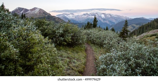 Sunrise over trail - Rocky Mountains