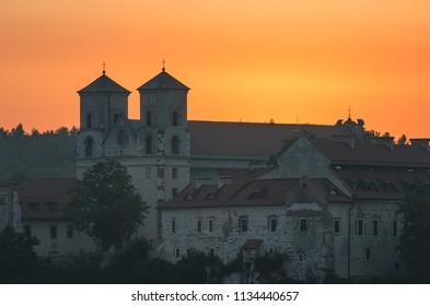 Sunrise over Tyniec abbey in Krakow, Poland