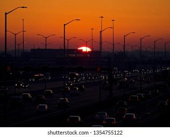 Sunrise over urban Chicago suburbs