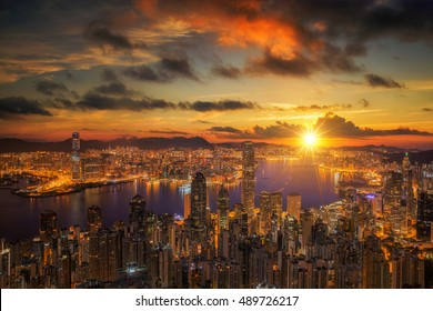 Sunrise over Victoria Harbor as viewed atop Victoria Peak, Hong kong, China