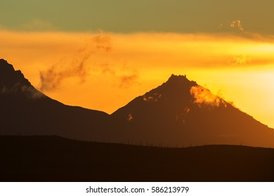 Sunrise Over volcanoes of the Kamchatka Peninsula