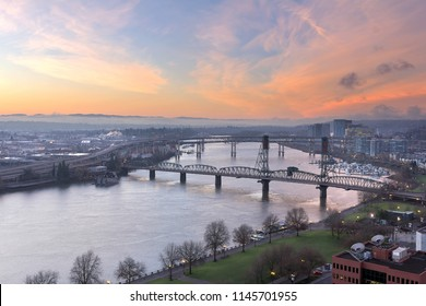 Sunrise Over Willamette River and the Bridges in Portland Oregon Downtown Waterfront