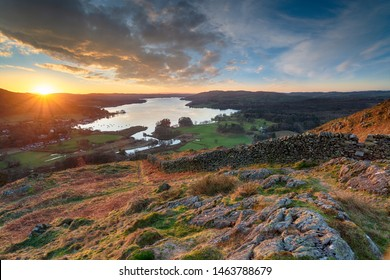 Sunrise over Windermere in the Lake District National Park from Loughrigg Fell