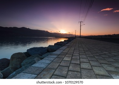 Sunrise overlooking a pathway commonly used by joggers