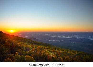 Sunrise in the Ozark Mountains at Mount Magazine, Arkansas