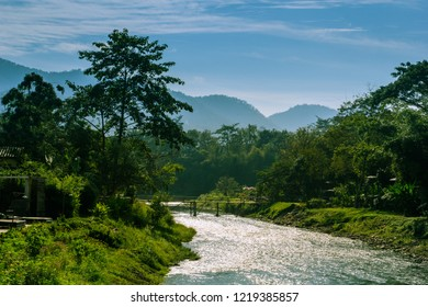 Sunrise in pai river at pai District Mae Hong Son Province, Thailand
