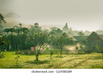 Sunrise in pai village at pai District Mae Hong Son Province, Thailand