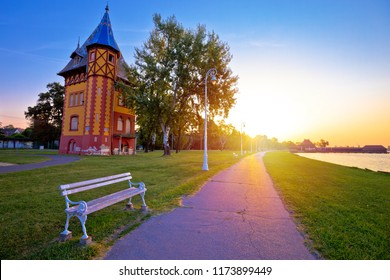 Sunrise at Palic lake near town of Subotica view, Vojvodina region of Serbia