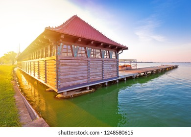 Sunrise at Palic lake wooden lady beach near serbian town of Subotica view, Vojvodina region of Serbia