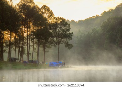 Sunrise at Pang-ung, pine forest park , Mae Hong Son, North of Thailand, edit warm tone