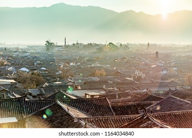 Sunrise panorama of Dayan Ancient City, Lijiang, Yunnan, China